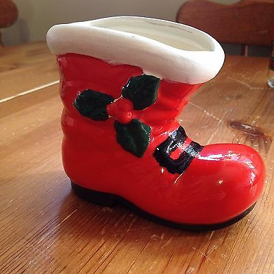 """Vintage Christmas Ceramic Santa Boot Red with Holly 4"""" X 5"""" Decoration Figure"""