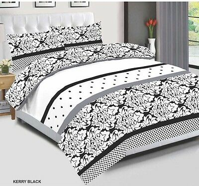 NEW Duvet Cover Bedding Set, Quilted With 2 Pillow Cases & Fitted Sheet All Size