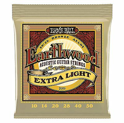 Ernie Ball Acoustic Guitar Strings Earthward 2006 80/20 BRONZE Extra Light 10-50