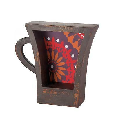 Weathed Brown Coffee Cup Look Shelf Cupboard Bathroom Storage Kitchen Graphic