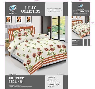 Bloom Purple Duvet Cover Bedding Set With 2 Pillow Cases & Fitted Sheet All Size