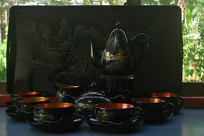Vintage Chinese Lacquer Ware Oriental Tea Set