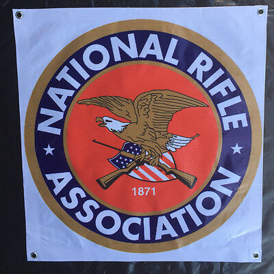 NRA banner poster rifle eagle emblem seal weapon silver gold us flag