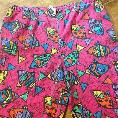 Vintage 80S Jammer Beach Pants Shorts Fish Print One Size Fits Most