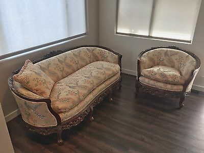 Antique hand carved Italian matching couch and chair