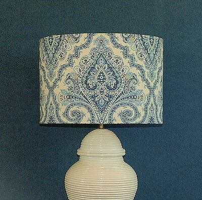 CLEARANCE: Aus Made Lampshade, Blue/White Indienne Paisley, 38x26cm Au Fitting