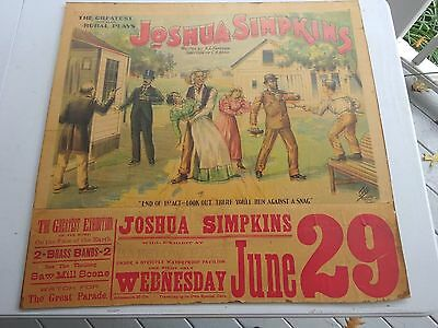 Original 1910 Theater Poster,Joshua Simpkins at Barstow Park, Ca, Erie Litho Co.