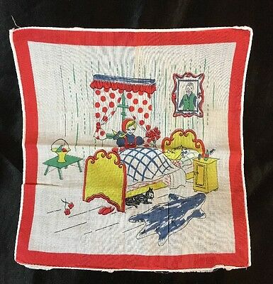 "ANTIQUE CHILDREN'S LITTLE RED RIDING HOOD HANDKERCHIEF, 8"" By 8 1/4""!"