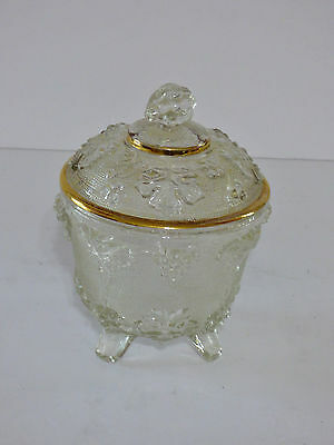 Vintage Jeannette Glass Covered Footed Candy Dish 3D Grape Design Gold Trim