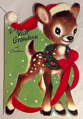 Adorable Baby Deer Doe Santa's Hat M Cooper 50's Vintage Christmas Greeting Card