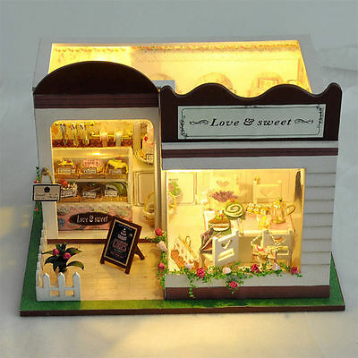 Exquisitely DIY Sweet Cake Shop Wooden Miniature Doll House Light Up Dollhouse