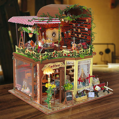 Exquisitely DIY Handmade Craft Mini Coffee Shop Miniature Doll House Toys GIFT