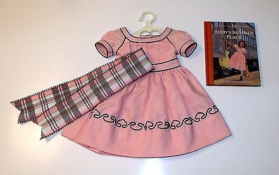 American Girl ADDY'S CAPE ISLAND DRESS with RIBBON & Short Story RARE !!!