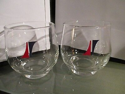 2 x vintage NATIONAL AIRLINES GLASS first class 1960s logo wine rocks barware