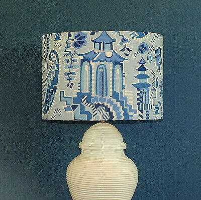 CLEARANCE: Aus Made Lampshade, Blue/White Pagoda Paisley, 38x26cm Au Fitting