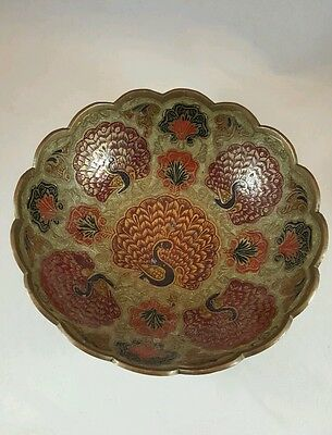 """Vintage Indian Brass Metal and Enamel Colorful Peacock Bowl 7"""""""
