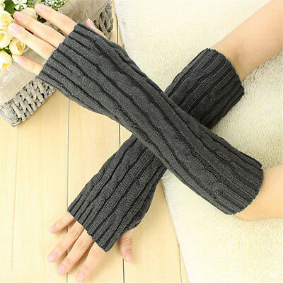 Womens Cashmere Gloves Protection Knitted Wool Long Fingerless Arm Warmer Gloves