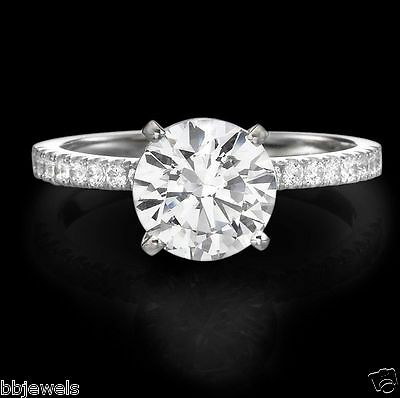 2.00CT Round Cut D/VVS1 Solitaire Engagement Ring 14k Real White Gold