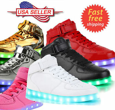 Unisex LED Light High Top Shoes Lace Up Luminous Casual Men Women Sportswear LOT
