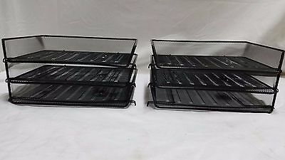 Lot Of 6 Black Mesh Metal Stackable Stack Letter Trays Side Load Office Or Home