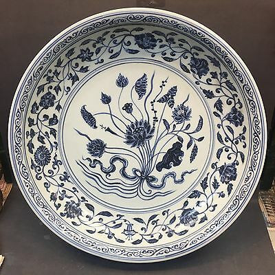 Rare and Old Lutus Tendrils Blue and White Ming Big Plate