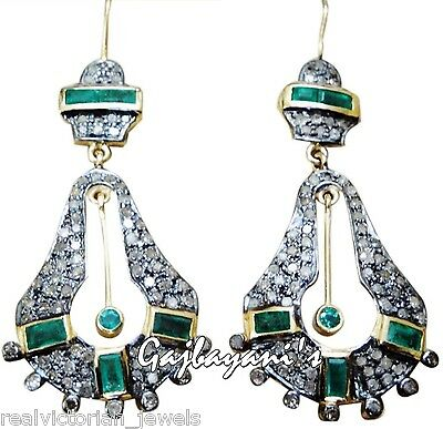 Amazing Incredibly Hand Crafted Antique Look Rose Cut Diamond & Emerald Earring