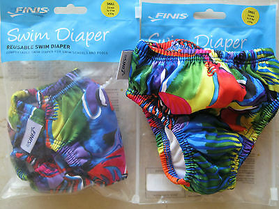 NEW (2) Finis Baby Swim Diaper Size S Reusable 3-6 mos 14-17 lbs Tropical Fish
