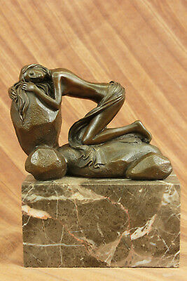 Handmade bronze sculpture Decor Home Base Marble Rock On Female Naked Decoration