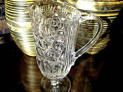 Antique English Large 11 inches Tall Lead Cut Crystal Footed Jug Made In England
