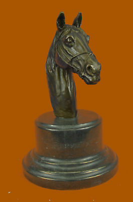 Horse Lovers Real Bronze Horses Head Dual Bust Sculpture Statue EquestrianArt DB