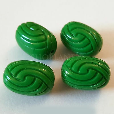 17x12mm Green knot oval carved etched acrylic beads 8pcs