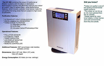 IONIC IONIZER Air Purifier UV ULPA OZONE Negative Ions