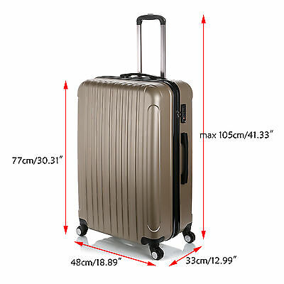 95 litre Large Hard Shell 4 Wheel Spinner ABS Luggage Trolley Case Suitcase Gold
