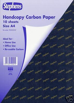 STEPHENS HANDCOPY CARBON PAPER  A4 size in Blue pack of 10 A4 sheets