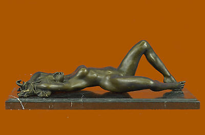 Bronze Sculpture Nude Naked Female on her Back Masterpiece Marble Figurine DB
