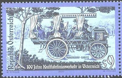 Mint stamp Centenary of First Regular Bus Route,Car 2000 from Austria