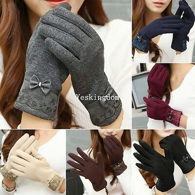 Ladies Fleece Thermal Warm Lined Lace Bowknot Touch Screen Full Finger Gloves