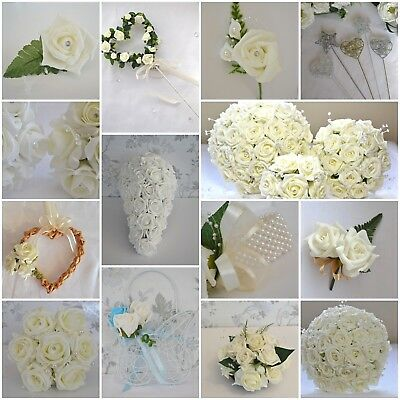 Wedding bouquet flowers buttonholes corsage posy bride white or ivory bridesmaid