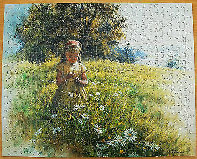 Vintage Victory Gold Box Daisy Meadow 600 Piece Wooden Jigsaw Puzzle Complete