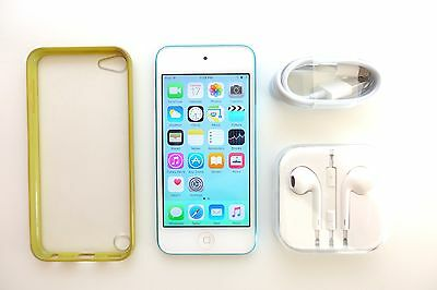 iPod Touch 5th Gen blue 32Gb + NEW earphones + case + NEW cable + FREE POST