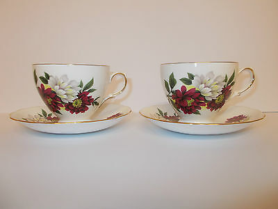 2 x Crown Royal Bone China Cups and Saucers with Floral Design Lovely