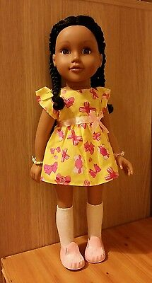 """**Yellow Floral Dress for slim 18"""" Dolls!!**"""
