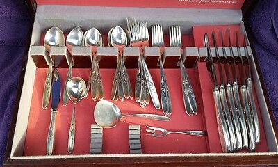 Towle Sterling Silver 1954 ROSE SOLITAIRE Flatware Set  44 Pieces