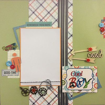 Handmade Scrapbook Page 12 X 12 Cool Boy Themed Layout
