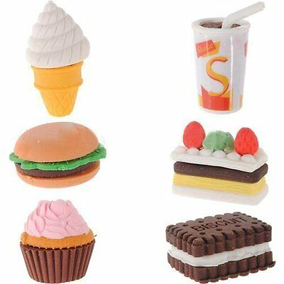 Assorted Food Novelty Cute Pencil Rubber Eraser Erasers Stationery Ice Cream Kid