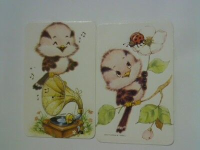 (2) Swap/Playing Cards - Pair Cute Baby Birds (Blank Backs)