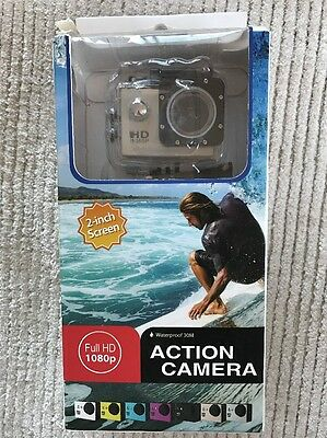 sports action camera 1080p Video. Waterproof Case. Wide angle. New.
