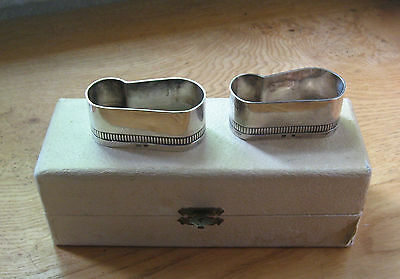 Silver Plated Vintage Napkin Rings.'moi & Toi' (Me & You) From France. Boxed.