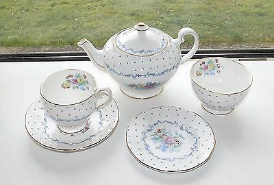 Salisbury Fine Bone China Teapot Cup Saucer Sugar Bowl Plate Tea For One 1930s