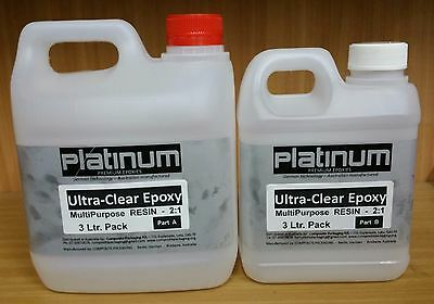 3 Litre Epoxy Ultra Clear Resin 2:1 kit for Fibreglass